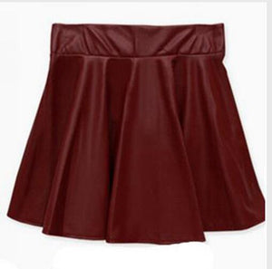 Women New Elastic High Waist Faux Leather Flare Skirt Casual PU Mini Skirt Above Knee Solid Color Black