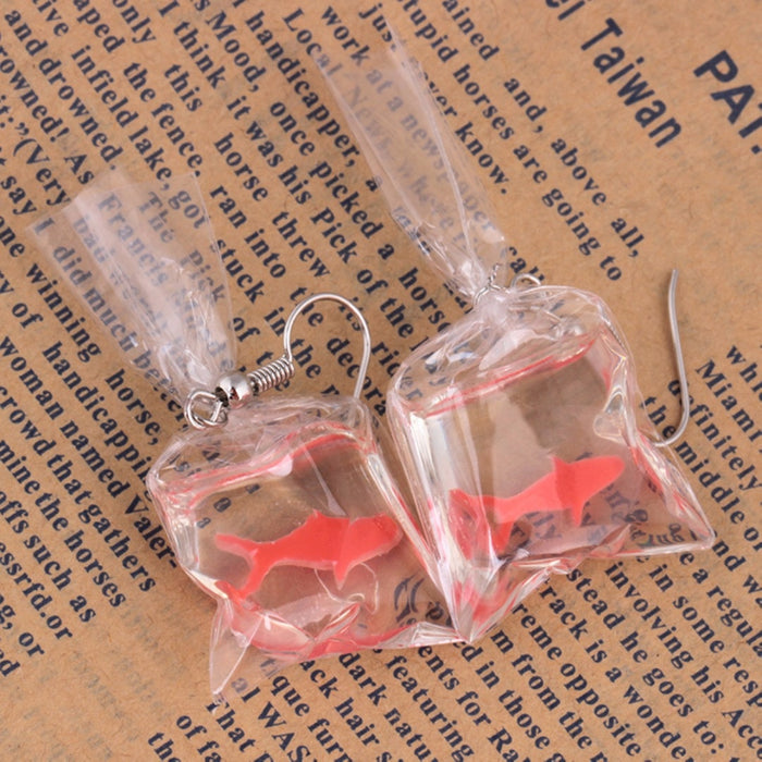Transparent Bag Goldfish Dangle Earring Shellhard Bijoux Femme boucle d'oreille