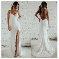 LORIE Sexy Ivory Mermaid Wedding Dress Side Split 2019 Vestido