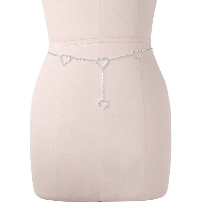 Fashion New 1 Pc Women Sexy Waist Chain Rhinestone Heart to Heart Body Chain Belt For Lady Female Party Beach High Quality