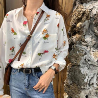 Loose Retro Style Early Flower Print Shirt Women's Shirts Clothes Kawaii Ulzzang