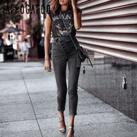 Affogatoo Fashion high waist button skinny black jeans pants Women causal fold pencil jean female Summer denim pants capris 2019