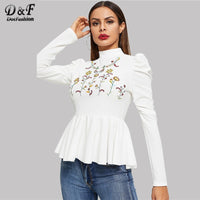 White Flower Embroidered Ruffle Womens Tops And Blouses