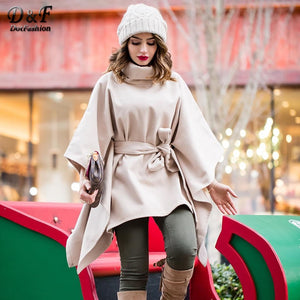 Dotfashion Khaki Turtleneck Belted Women Poncho Coat Autumn Elegant 2019 Winter Cape Womens Clothing Plain Going Out Outerwear