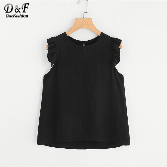 Dotfashion Frilled Armhole Button Closure Back Shell Black Top Summer