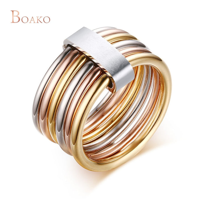 Women 10MM Chunky Stainless Steel Interlocked Stacked Ring