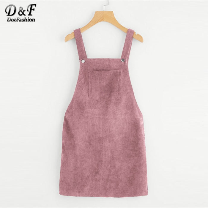 Dotfashion Bib Pocket Front Overall Short Dress 2019 Pink Zip Button Pinafore Shift Dress Female Sleeveless Plain Dress