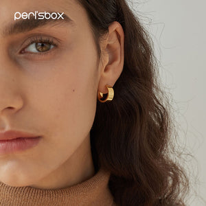 Peri'sBox Gold Sliver Color Metal Small Hoop Earrings for Women Modern