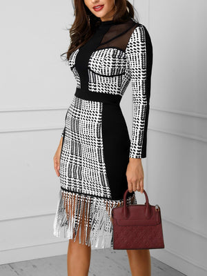 2019 Women Elegant Fashion Sexy Midi Cocktail Party Dresses Patchwork Grid Mesh