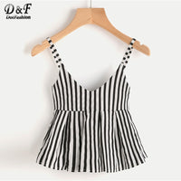 Dotfashion V Neckline Vertical Striped Babydoll Cami Top 2019 Ruffle Hem Striped Vest Women Casual Slim Fit Peplum Camisole
