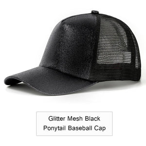 2019 Glitter Ponytail Baseball Cap Women Adjustable Messy Bun Caps Black Hat Girls Casual Cotton Snapback Summer Mesh Hats