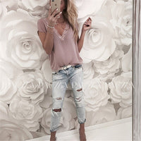 2019 Sexy Tops Women Short Sleeve Loose T Shirt Summer Ladies Casual V-neck Tees Top Pure Color Lace Patchwork T-Shirt