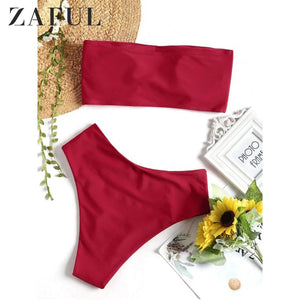 ZAFUL Bandeau High Cut Bikini Set Women High Waist Swimsuit Two Piece Light Salmon Mint Green Swimwear Padded BathingSuit Biquni