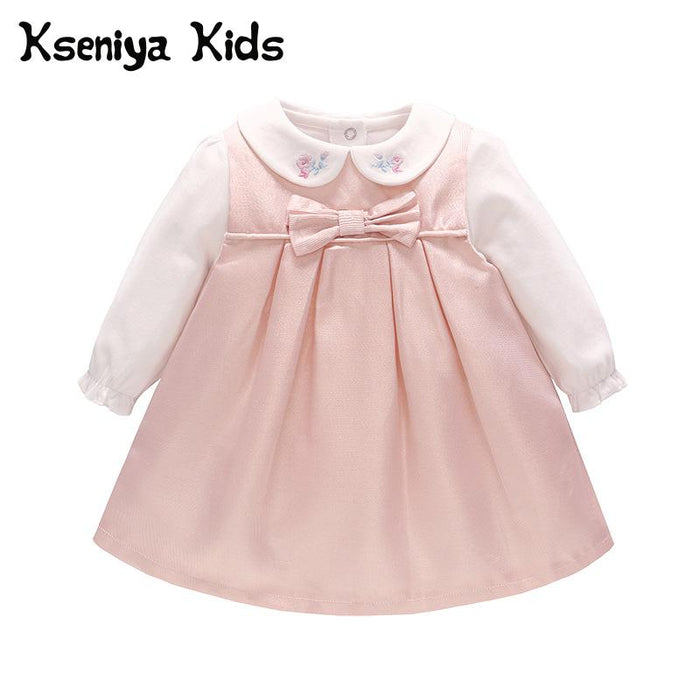 Kseniya Kids 2018 Autumn Children's Princess Dress Pink Bow Sweet Cute Girl Children's Dress Christening Dress Baby Girl Dresses