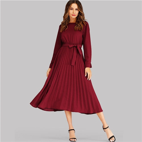 Burgundy Self Tie Pleated Dress Elegant Long Sleeve Women Dresses Woman Party Night