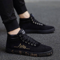2019 New fashion All Black Men lace up walking shoes canvas shoes high top sneakers