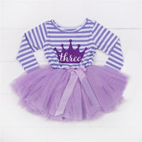 Newborn Baby Dress 1st Birthday Outfits Cotton Striped Long Sleeve Baby Girls Dress Smash Cake Tutu 2nd Birthday Baptism Clothes