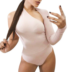 5 COLORS fashion Women Sexy One Shoulder bodysuits Leotard solid beach Tops Bodycon Plunge BLACK WHITE RED