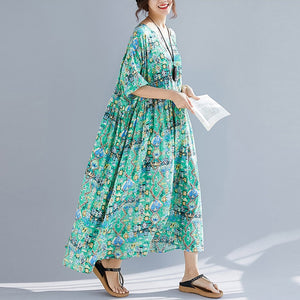 New Arrival 2019 Women Summer Dress Vintage Sundress Cotton Art Print Big Swing Maxi Dress 4XL 5XL 6XL Plus Size New Long Dress