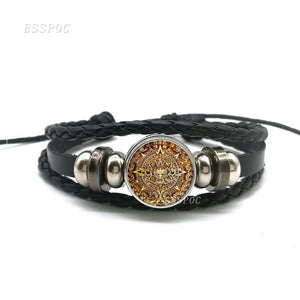 Aztec Jewelry Aztec Calendar Mexican Glass Dome Black Multi-layer Leather
