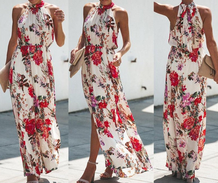 Womens Boho Long Maxi Dress Lady Evening Party Beach Dress Sundress Floral Sleeveless Long Dress