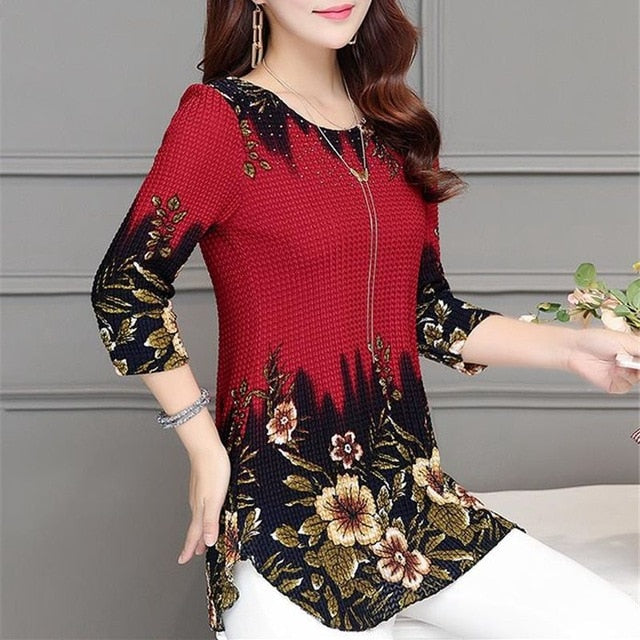 SEXMKL 2019 Fashion Spring Summer Three Quarter Slim Floral Long Shirt Female Casual Slim Color Plus Size Elegant Printed Blouse