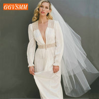 Simple Women White Bridal Veils With Comb Two Layers Tulle Short 120cm