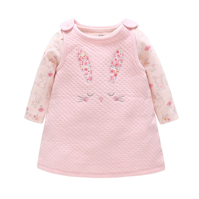 Vlinder Baby Girl Clothes New Infant Spring Autumn Long Sleeves Pink Cute dress & Bodysuit  Snug Baby girl dress 2 pcs set