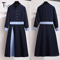 Trytree Spring Summer Dress Women Casual Silky Polyester Cotton Navy Parchwork colors A-line Dress Three Quarter Office Dress