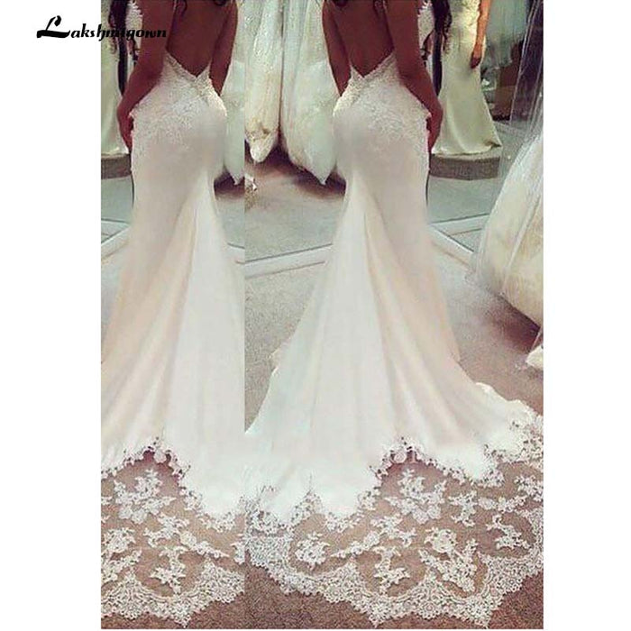 Spaghetti Lace Sleeveless Wedding Gown Lace Appliques Boho Wedding Dress