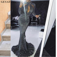Dark Green Sequined High Neck Mermaid Evening Dresses 2019 Long Sleeves