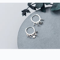 MloveAcc 925 Sterling Silver Dangle Stars Huggie Hoop Earrings Jewelry Women