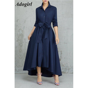 Long Shirt Dress Women Casual Turn-down Collar Lace Up Bandage Long Sleeve