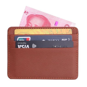 TRASSORY Men Women Durable Slim Simple Travel Lichee Leather Bank Business ID Card Wallet Holder Case with Coin Purse