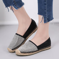 AARDIMI 2019 New Bling Espadrilles Women Ballet Flats Shoes Casual Hemp