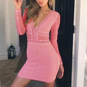 Women sexy Lace Slim V neck Slim Bandage Bodycon Backless Party Cocktail Pencil Midi Dress