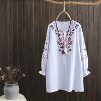 Ethnic Vintage Pink Floral Embroidered Blouses Women Loose Long Sleeve Shirt