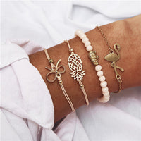 17KM Bohemian Feather Flower Bracelets For Women Fashion Simulated Pearl