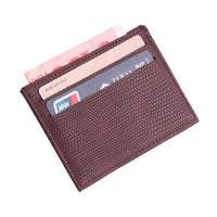 TRASSORY Lichee Pattern Women's And Men's Slim Leather Business Card Holder Cover With 4 Card Slots And 1 Money Pouch