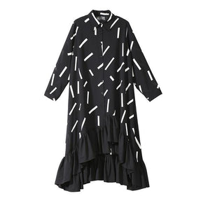2019 Women Spring Plus Size Black Shirt Dress Geometrical Pattern Ruffle