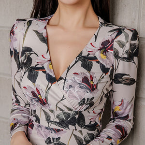 Sexy V-neck Floral Print Pencil Bodycon Dress Women 2019 Spring Elegant Full Sleeve Split Female Dress Casual Sheath OL Vestidos