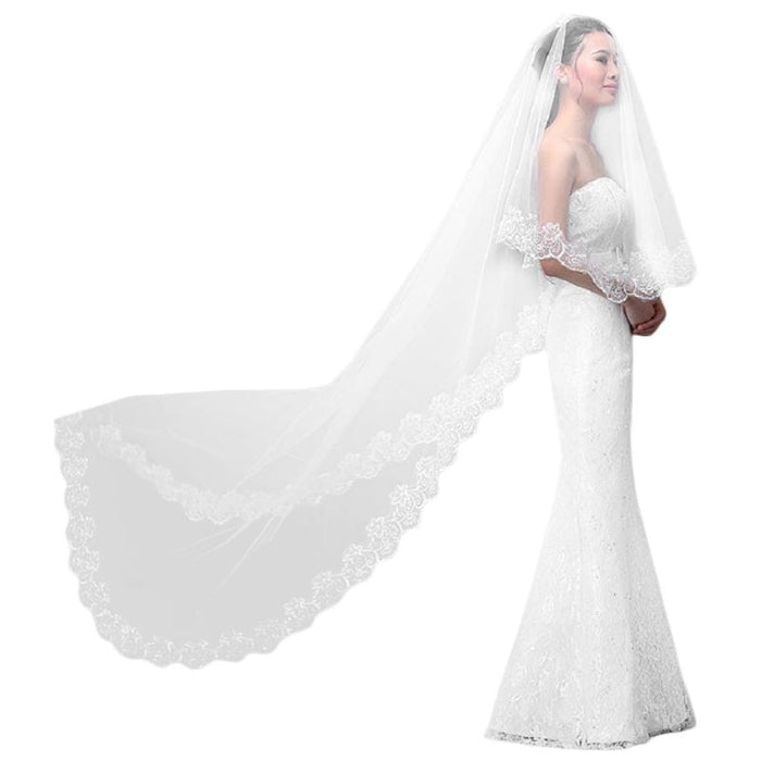 Pure White Wedding Veil 3M Long Embroidered Floral Lace Scalloped Edge Bridal
