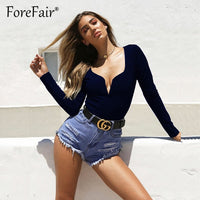 Forefair V Neck Long Sleeve Bodysuit Woman Top Autumn Winter Rompers 2018 Black Red White Burgundy Slim Body Women Sexy Bodysuit
