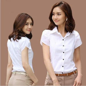 Women New OL White Shirt Female Short Sleeved Workwear Button Up Blouse