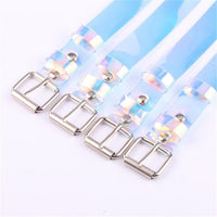Fashion Transparent Laser Holographic Women Belt Punk Clear Color Buckle