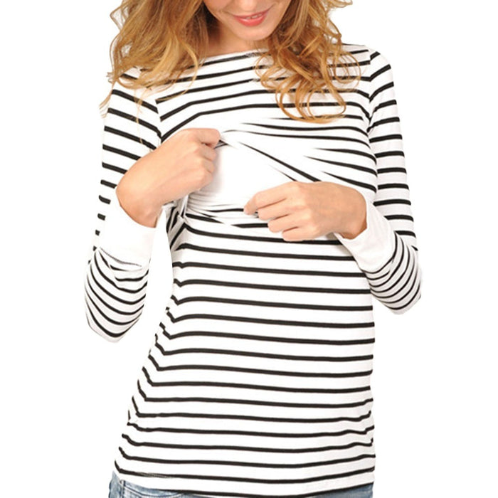 SZYADEOU Women Mom Pregnant Nursing Maternity Long Sleeved Stripe Tops Blouse Clothes robe femme enceinte gravida clothes 15