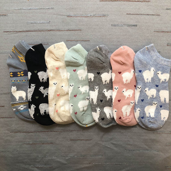 Short Ankle Invisible Tiny Alpacas Fluffy Sheep Comfortable Cozy Cotton
