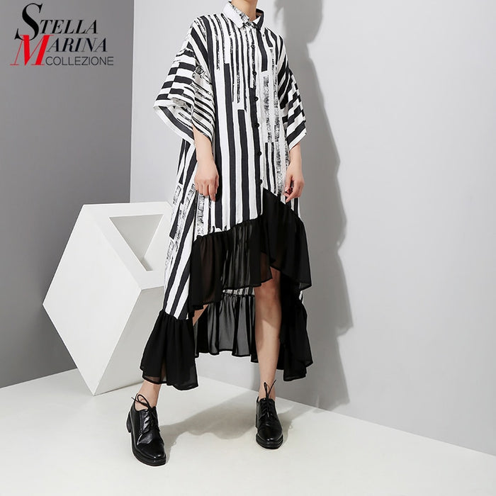 Women Summer Asymmetrical Black Striped Shirt Dress Plus Size Ruffle