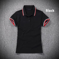6 Colors 2019 Summer womens New short sleeve polos shirts casual womens lapel cotton polos shirts fashion slim lady tops