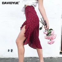 Boho skirts womens button high waist ruffle skirt bohemian moon star floral print midi skirt korean fashion streetwear 2019